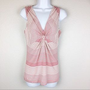 CAbi Forget Me Knot Striped Red Top
